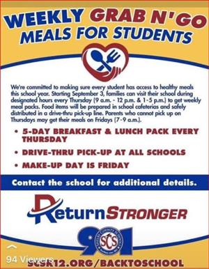 Weekly Grab N' Go Meals Thursday at school 9-12 and 1-5pm