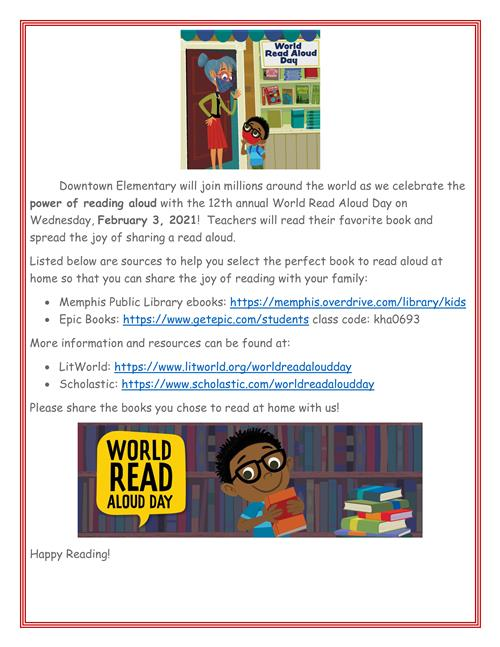 12th Annual World Read Aloud Day !!