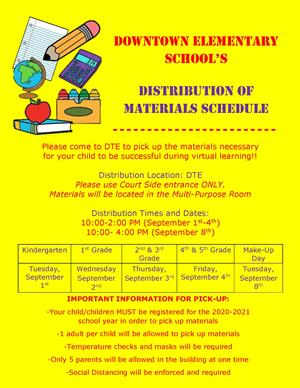 Materials Distribution Reminder
