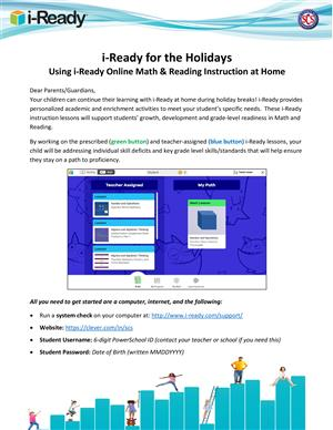 i-Ready Holiday Home Use Information
