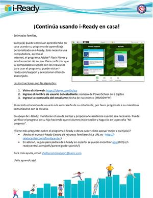 i-Ready Spanish Holiday Home Use Information
