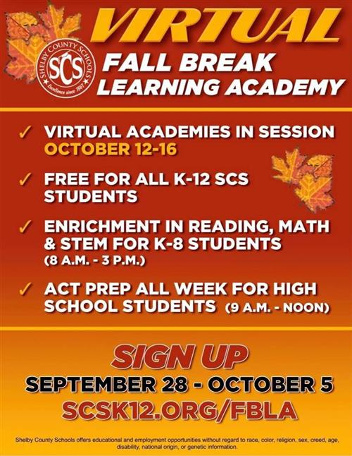 Virtual Fall Break Learning Academy