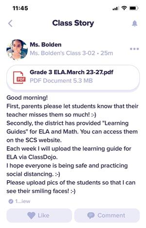 Ms. Bolden's message to parents.
