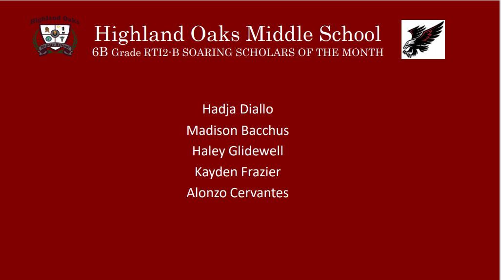Students of Month - 6th Grade