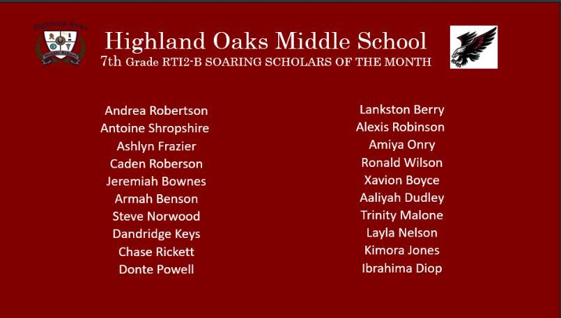 Students of Month - 7th Grade