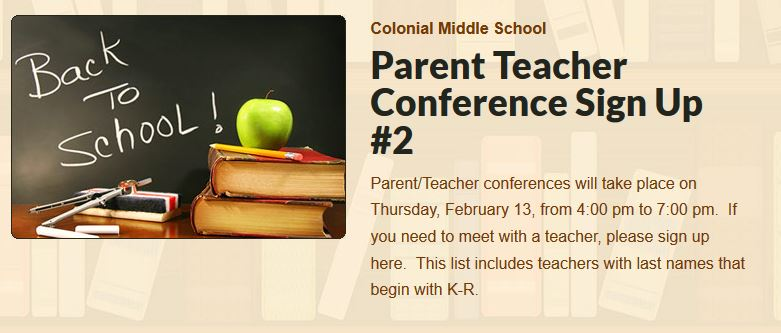 Parent Teacher Conference Sign Up #2