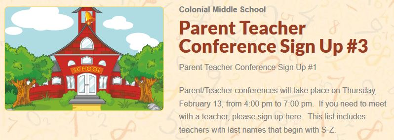 Parent Teacher Conference Sign Up #3