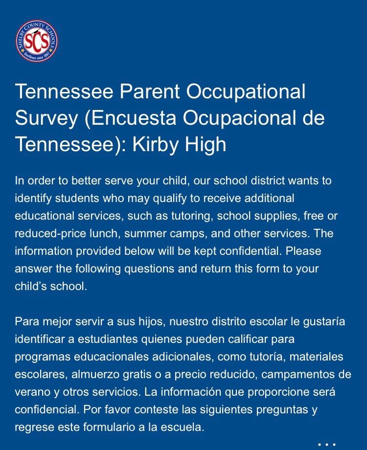 Tennessee Parent Occupational Survey (Encuesta Ocupacional de Tennessee)